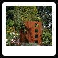 Corten steel water feature in the front garden